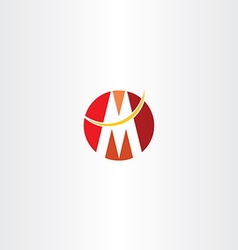 Red logo letter m circle icon design vector