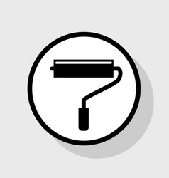 roller sign flat black icon vector image
