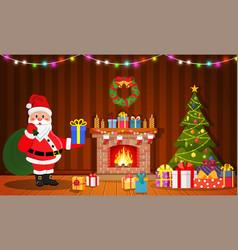 santa claus in christmas room interior vector image