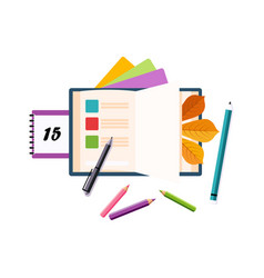 Schedule calendar and pencils set of school and vector