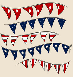 set of 4th july party flags on string vector image vector image