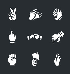 Set of hand gestures icons vector