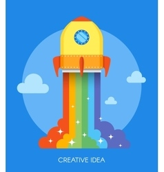 Space rocket launch concept vector