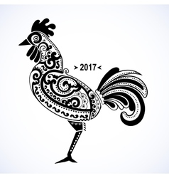 Stylized rooster with ethnic vector image