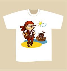 T-shirt print design pirate vector