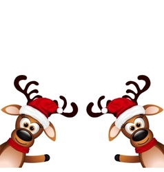 Two funny reindeer on a white background vector image vector image