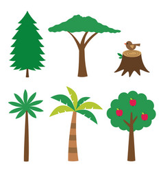 various trees set isolated design elements vector image