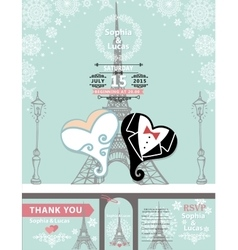 Wedding invitationsbridegroom hearparis winter vector