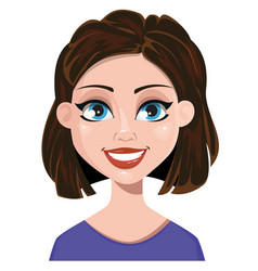 woman smiling female emotion face expression cute vector image vector image