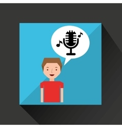 Young boy music concept microphone classic vector