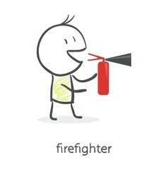 Cartoon man holding a fire extinguisher vector image