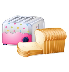 An oven toaster and slices of breads vector