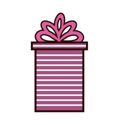 Gift box present ribbon with stripes and bow vector