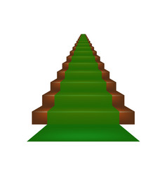 Stairs covered with green carpet vector