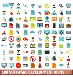100 software development icons set flat style vector