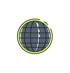 Flat color globe icon vector