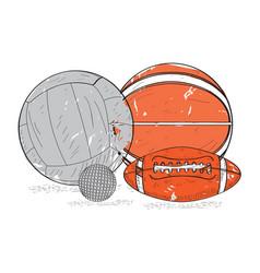 Retro styled sport balls vector