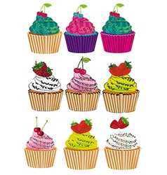 Set of six different styles cupcakes with strawber vector