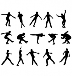 Mans figure skating silhouette set vector