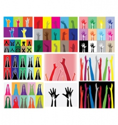 Hands and legs silhouettes vector
