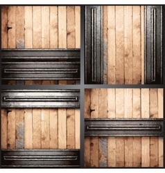 Wood and metal background set vector