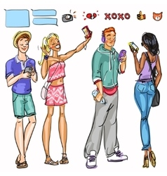 People with phones vector