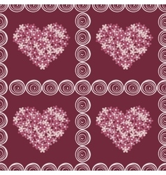 Vintage floral hearts pink red background vector