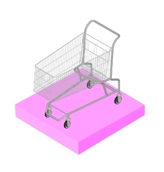Isometric 3d icon pictograms supermarket trolley vector