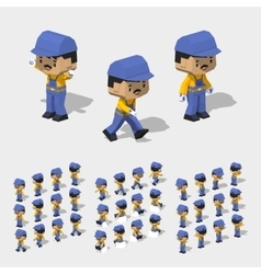 Low poly worker with dark hair mustache in the vector