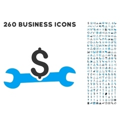 Service cost icon with flat set vector