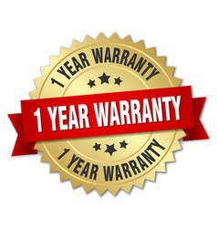 1 year warranty 3d gold badge with red ribbon vector