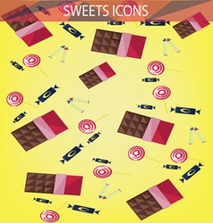 Abstract sweets icons set with candies chocolate vector