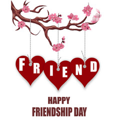 Beautiful postcard for friendship day hearts of vector