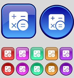 Calculator icon sign A set of twelve vintage vector image vector image