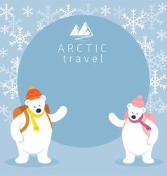 Couple Arctic Polar Bear Backpacker Frame vector image