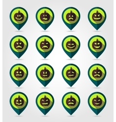 Halloween pumpkins mapping pin icon set vector image