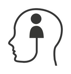 Head human profile tech icon vector