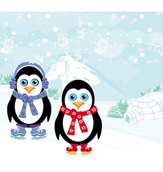 Ice skating penguins vector