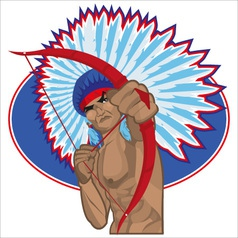 Indian redskin with bow vector