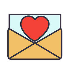 love letter envelope with heart vector image vector image