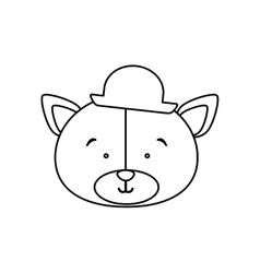 Monochrome contour with face of groom bear vector