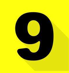 Number 9 sign design template element black icon vector