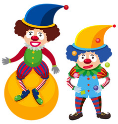One clown on ball and one juggling vector