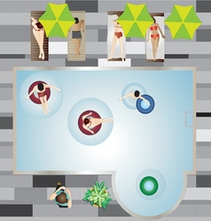 People Pool and Beach top view set 3 vector image vector image