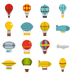 Retro balloons aircraft icons set in flat style vector