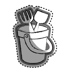 Sand bucket baby toy icon vector