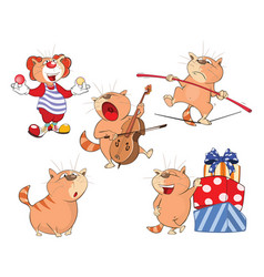 set of cartoon cute cats vector image vector image