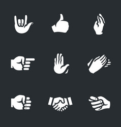 set of hand gestures icons vector image vector image