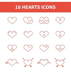 Set of heart iconssymbolsign in flat style Hearts vector image vector image
