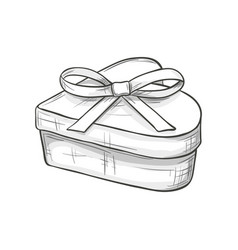 sketch heart shape gift box vector image vector image